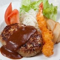 (夕食)ハンバーグ&エビフライ
