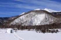 冬、白一色の一の瀬園地