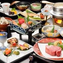 山形牛フィレステーキをはじめ、お釜で炊き立ての県産つや姫白米も楽しめる、料理長特選会席