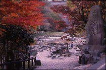 秋景色の湯原温泉・砂湯