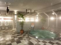 サウナ、ジャグジー、バイブラバスを備えた温泉大浴場