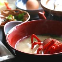 【夕食】伊勢海老のお味噌汁