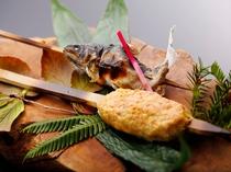 炉端焼き料理(つくね・岩魚)