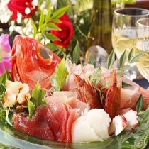 【料理】コース料理(金目鯛お造り・一例)