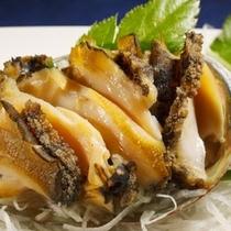 【料理】コース料理・一例(アワビお造り)