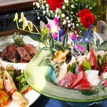【料理】コース料理(スタンダードお造り盛・一例)