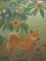 栗と柴犬 日本画