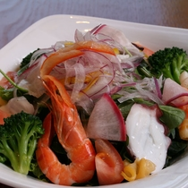 【ヘルシー海鮮サラダ一例】このボリュームで一人前!女性と健康志向の方々にオススメです
