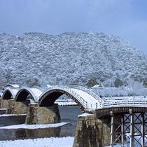 冬の絶景/雪の錦帯橋