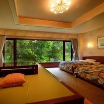 【特別和洋室】バリアフリーで安心、しかも客室温泉風呂付きです!