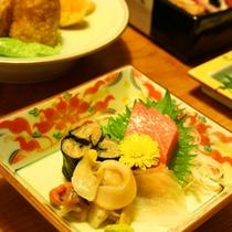 *日本海で獲れた新鮮なお刺身(夕食一例)