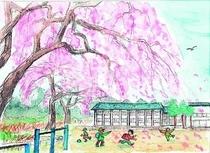 地元のイラストレーターさんご推薦の小学校の桜