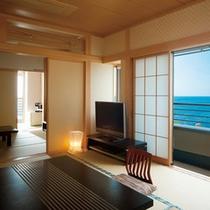 ★松石庵客室一例(TV、座卓、海)