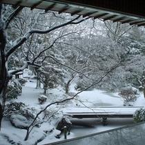 ■啄木亭の日本庭園(雪景色)