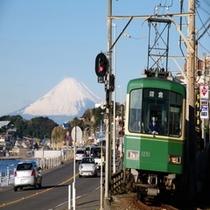 江ノ電と富士山