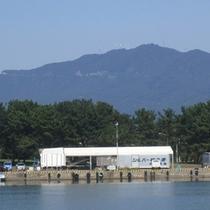 *釣り船乗船埠頭から海と弥彦山を撮影