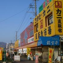*寺泊名物の魚の市場通り