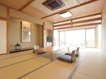 鳴海/バルコニー展望風呂付15帖角部屋の和室です。
