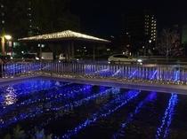 西川緑道公園(冬)西川緑道公園は毎年冬になるとライトアップされます。