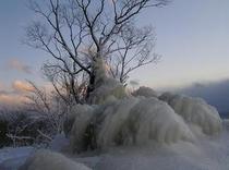 猪苗代湖,しぶき氷