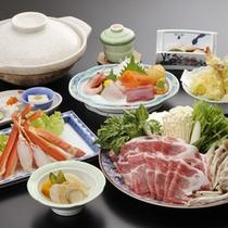 *ご夕食(料理一例)/あったか「信州味噌鍋会席」と追加注文のずわい蟹(要予約)。
