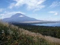 三国峠から眺めたススキ野原と富士山と山中湖