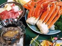 夕食時に「ずわい蟹皿盛り」「あわびステーキ」「和牛陶板焼き」が付いたプラン♪三大味覚を満喫!