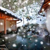 雪降る露天風呂500