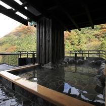 展望露天風呂 紅葉の季節は間近にその様子を楽しめます