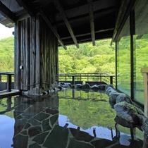 展望露天風呂新緑の季節は山桜も楽しめます♪