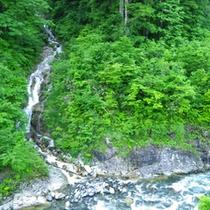 ●宿の近くを流れる滝