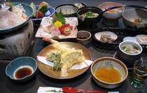 鯛のしゃぶしゃぶ膳天ぷら付一例