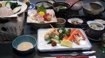 帆立貝焼き膳カニ付き一例