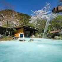 ◇山桜と快晴の野天風呂
