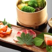 ◇【田舎会席】温野菜とお造り3点盛り