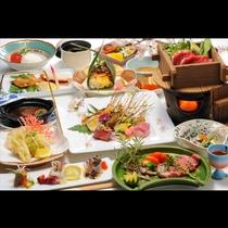 きのこの天ぷらに、ていねいに出汁を引いたお椀や煮物など秋の味覚をたっぷり味わっていただける御膳です。