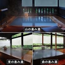 ■貸切風呂(上「山の恵み湯」左下「里の恵み湯」右下「森の恵み湯」)※有料