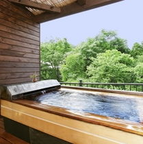 露天風呂付客室いちいの間(石&ひのき風呂)いちいの間だけが長方形の浴槽です