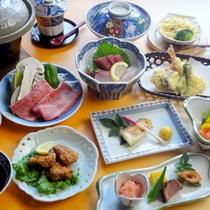 【夕食一例】夕食は本格会席料理を堪能♪お部屋でゆっくりご堪能ください。