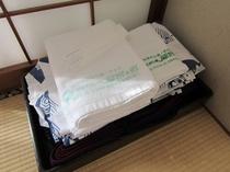 【和室 アメニティー その1】タオル・バスタオル・浴衣・歯ブラシ