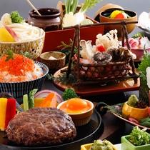 ゐきりグルメバーグと鮭・イクラの親子丼会席(一例)