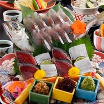 豆乳醤出汁の牛肉しゃぶしゃぶと旬のお造り美食の饗宴会席(一例)2