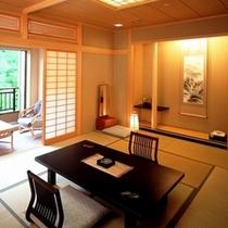 【本館和室】「ミニテラス」のあるお部屋。本館和室は全室川に面しています。