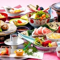 【「和風会席膳」一例】お食事処『八之助茶屋』にて召し上がりいただきます。