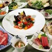【「フレンチ会席」一例】お食事処『八之助茶屋』にて召し上がりいただきます。