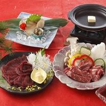 チョイスプラン(馬刺し・あわびの煮貝・甲州ワインビーフの陶板焼き)1皿選べます