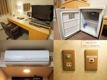 「ライティングテーブル」「空冷蔵庫「個別エアコン」「有線LAN・無線LAN」