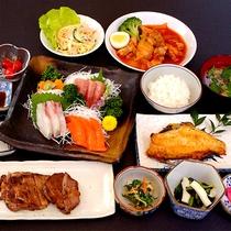 仙台名物牛タン+三陸の刺身プラン 夕食一例