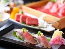 牛づくし料理・牛寿司(一例)