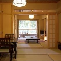「6畳+6畳」の一例。お部屋は襖で仕切れますので、お子様が寝てしまったあとも大人の時間を過ごせます。